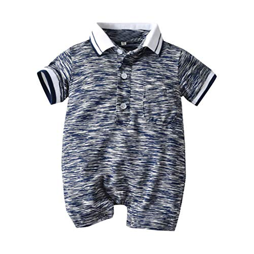 BUKINIE Newborn Baby Boy Romper Clothing Short Sleeve One Piece Body Combination Infant Polo Creeper(Gris,6-12 Mois