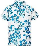 V.H.O. Funky Camisa Hawaiana, Hibiscus, Turquesa Blanco, XL