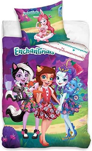 Carbotex – ENC201003 – Juego de cama de algodón Enchantimals Trio, funda nórdica y funda de almohada – Multicolor – 100 % algodón – 160 x 200 cm + 70 x 80 cm