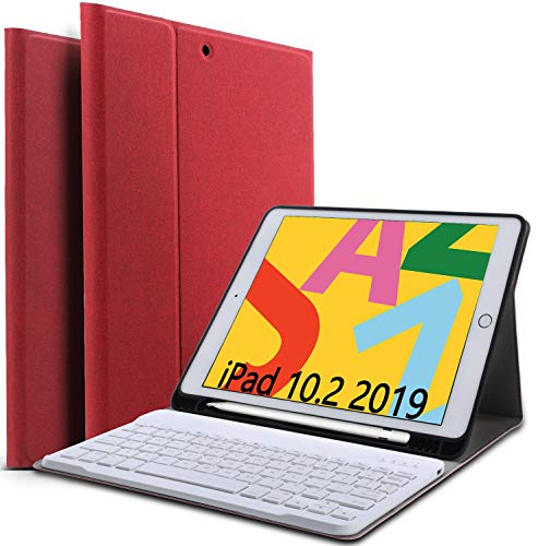 QHOHQ Keyboard Case for iPad 10.2 2019 (iPad 7th Generation),Detachable 2-in-1 Bluetooth Wireless Keyboard Case with Pencil Holder,[Magnetic Auto Sleep/Wake] [360° Full Protection] [5 Color] (Red)
