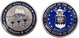 """Air Force """"Top Three"""" Chief - Senior Master Sergeant & Master Sergeant Challenge Coin / Logo Poker / Lucky Chip"""