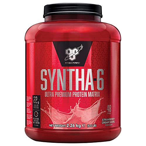 BSN Syntha 6 Ultra-Premium Protein Powder for Muscle Gain and Recovery, Strawberry Cream Swirl, 2.26 kg, 48 Servings