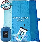 6. WELLAX Sandfree Beach Blanket - Huge Ground Cover 9' x 10' for 7 Adults - Best Sand Proof Picnic Mat for Travel, Camping, Hiking and Music Festivals - Durable Tarp with Corner Pockets (Blue)
