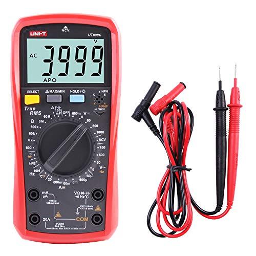 UNI-T UT890C Multimetro Digitale Professionale Tester Voltmetro Amperometro Ohmmetro Veri RMS 6000 Conti Test di Capacità e Misurazione della Temperatura con LCD Retroilluminato