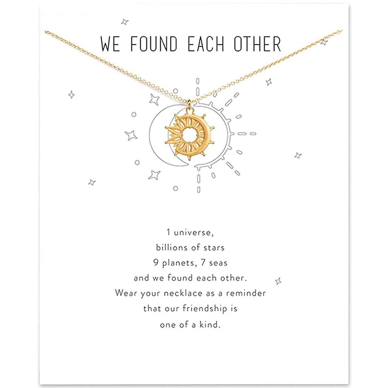 HUNO Dainty Lucky Elephant Horseshoe Clavicle Chain Key Angel Wing Hexagram Star Pendant Necklace Friendship BFF Jewelry