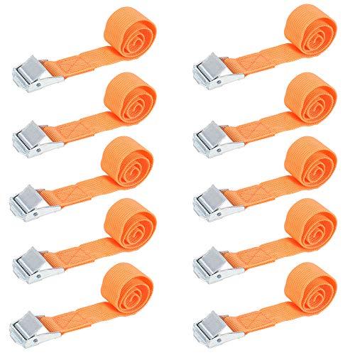 MIZOMOR 10 Piezas Cinturón de Amarre Correa de Amarre Correas Trinquete Hebilla con Hebilla Cinchas de Sujeción para Motocicletas Bicicletas Canoas Tamaño 2.5 x 70 cm Carga Máxima 500 Libras(Naranja)