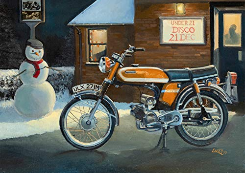 Yamaha FS1-E Fizzy Fizzie Japanese Motorbike Motorcycle Moped Christmas Card