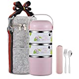 YBOBK HOME Cute Bento Lunch Box with Flatware Set Stackable Lunch Box Stainless Steel Lunch Box Leak Proof Bento Box Insulated Reusable Meal Prep Container for Kids and Adults (3-Tier, Pink)