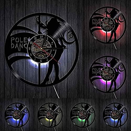 SHILLPS Reloj de Pared con Disco de Vinilo para Bailarina de Poste, Reloj de Noche para Chica, Reloj de Strippers Sexis para Mujer, Regalo para Bailarinas, Arte de Pared de Baile, 30 Cm sin LED