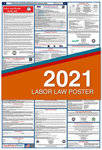 2021 Kentucky Labor Law Posters (Laminated) All-in-One State and Federal Approved, OSHA Compliant Vertical 27