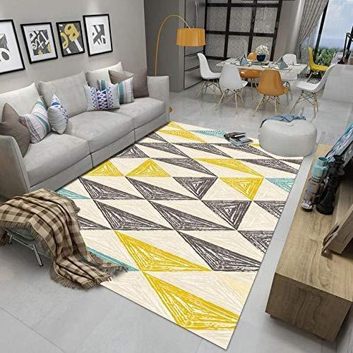 LJN Tappeto Home Alfombra De Diseño Patrón geométrico triángulo Amarillo Gris Crema Cian- 120 × 180cm Fácil de Limpiar