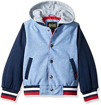iXtreme Boys' Toddler Varsity Jacket with Fleece Hood, Navy, 2T