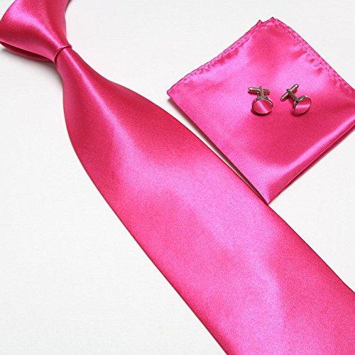 Cravate + Pochette + Bouton de Manchettes Satinée - Rose Foncée - Neuf