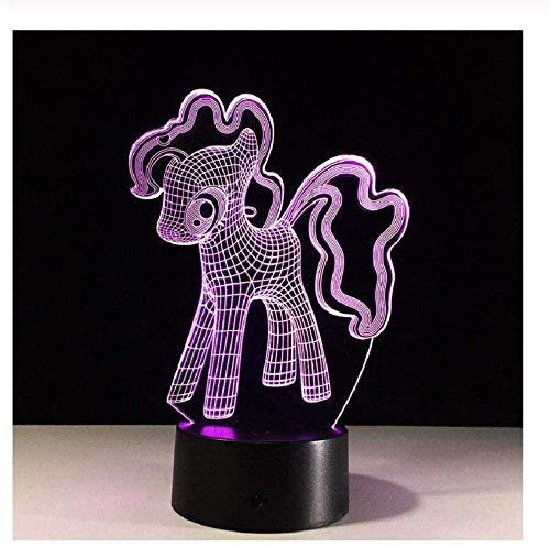 My Little Pony Lámpara de noche con holograma de ilusión 3D con mando a distancia de 16 colores que cambian de tono, decoración del dormitorio, mejor regalo creativo de Navidad de cumpleaños p