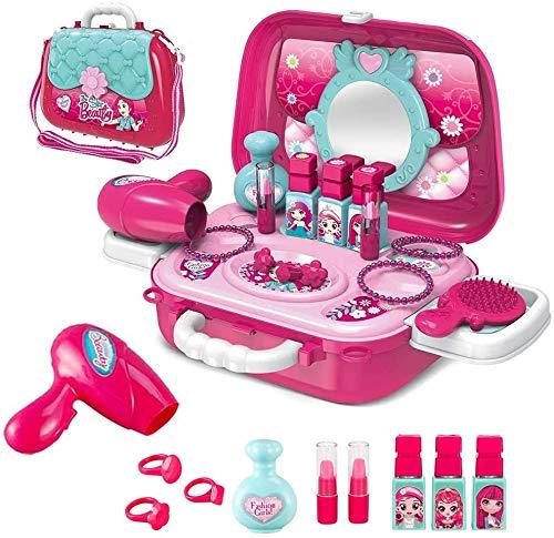 Homespired Bolsa de transporte portátil 2 en 1 para salón de maquillaje con accesorio para tocador de moda, juguete para niñas