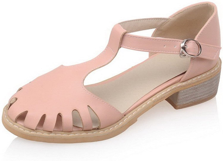 AllhqFashion Women's Round-Toe Low-Heels PU Solid Buckle Sandals