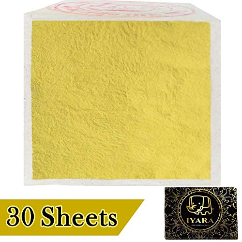 """IYARA 30 Edible Gold Leaf Sheets – Multipurpose 24 Karat Yellow Leaves for Food and Cake Decoration, Spa Anti-Wrinkle Face Masks, Art, Crafts, Gilding, Restoration, DIY Projects (1.2"""" x 1.2"""")"""