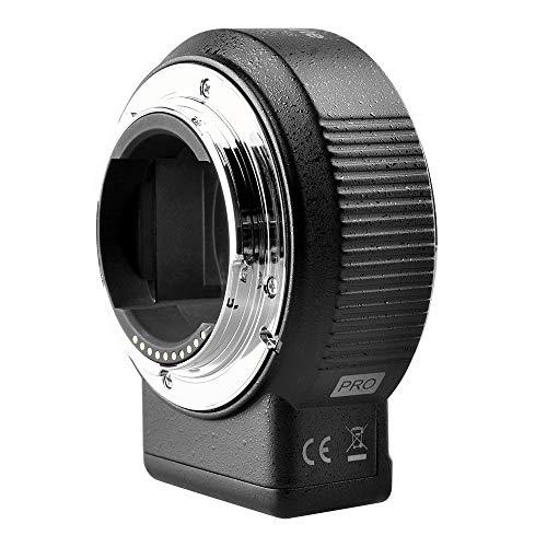 Commlite CM-ENF-E1 Pro Autofocus - Adaptador de objetivo electrónico para Nikon F (montura E para cámaras Sony A9 A6300 A6500 A7RII A7II)