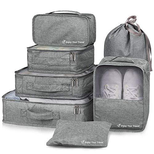 Packing Cubes VAGREEZ 7 Pcs Travel Luggage Packing Organizers Set with Laundry Bag Grey