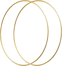 Sntieecr 2 Pack 14 Inch Large Metal Floral Hoop Wreath Macrame Gold Hoop Rings for Making Christmas Wedding Wreath Decor, Dream Catcher and Macrame Wall Hanging Craft