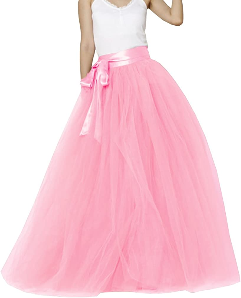 Now free shipping Lisong Women 35% OFF Floor Length Bowknot Party Tulle Evening 5-Layered