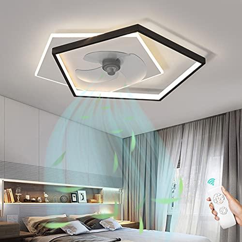 Lámpara De Techo LED Creativa Moderna Ventilador De Techo Con Luz Y Mando A Distancia Regulable Lámpara De Ventilador Silencioso Velocidad De Viento Ajustable Para Dormitorio Sala De Estar Comedor