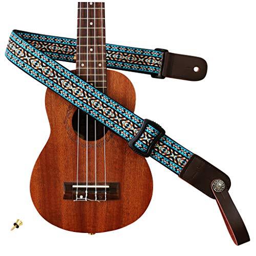 MUSIC FIRST Country style Soft Cotton & Genuine Leather Ukulele Strap Ukulele Shoulder Strap Version 2.0 With a MUSIC FIRST Genuine Leather Strap Locker