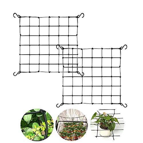 METCRY 2Pack 2x2FT Elastic Trellis Netting with Hooks for Grow TentsSuitable for trellising Bean peas Climbing Plants