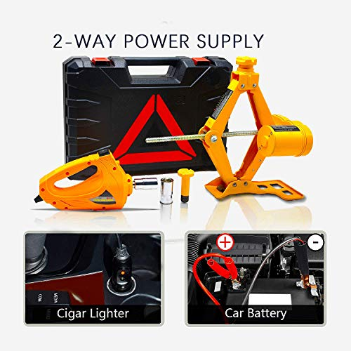 E-HEELP Electric Car Jack 3 Ton 12V Lifting Range 12-42cm Scissor Jack with Impact Wrench for SUV Tire Changes