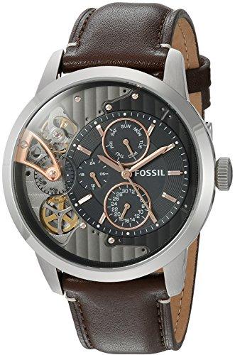 Fossil Mens ME1163 Townsman Twist Multifunction Dark Brown Leather Watch
