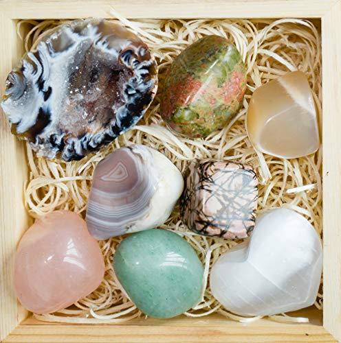 Crystalya Premium Grade Crystals and Healing Stones in Wooden Box for Fertility, New Moon, Meditation - Rose Quartz, Unakite, Rhodonite, Moonstone, Occo Geode, Selenite, Gemstones + Info Guide