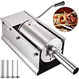 VEVOR Sausage Stuffer Machine 5L Stainless Steel Sausage Filler Horizontal Manual Sausage Meat Stuffer Machine for Making Hot Dog Sausages Bratwurst Suitable for Home and Commercial Use