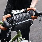 Asvert Manubrio Borsa Bici Multifunzionale, Bicicletta Borse da Manubrio Impermeabile, Sacchetto Anteriore del Manubrio, Borse Bici MTB con Strisce Riflettenti, Tracolla Removibile Ciclismo Sport