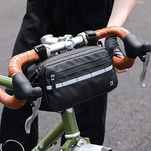 Asvert 3L Bolsa de Manillar Bicicleta MTB Multifuncional,Bolsa Impermeable para Manillar,Bolsa Bici Manillar Universal para Cualquier Bicicleta(Negro)