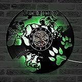 hxjie Reloj de Pared Decorativo Rey León Reloj de Pared con Canto de Vinilo Reloj de...
