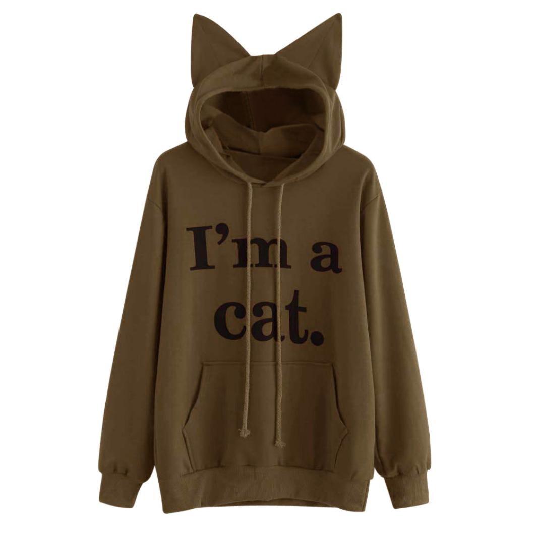 LILICAT Mujeres Sudaderas con Capucha de Gato, Blusa Camiseta 2017 Chic Soy un Gato Carta Impresa de Manga Larga con Bolsillo (M, Café): Amazon.es: Hogar