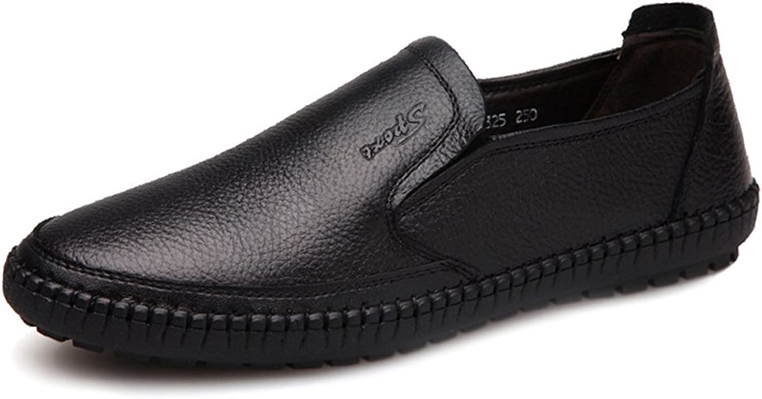 SRY-shoes Men's Classic shoes Round Toe Genuine Cowhide Leather Upper Slip-on Flat Soft Sole Loafer