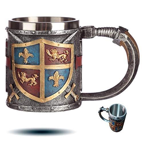 level25 - Jarra de Cerveza de Colección con Escudo y Espadas en Relieve. Interior de Acero Inoxidable. Gran Capacidad