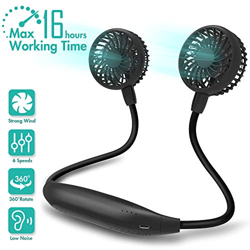 Portable Neck Fan, 2600mAh Battery Operated Sport Fan Ultra Quiet Hands Free USB Fan with 6 Speeds, Strong Wind, 360° Adjustable High Flexibility Wearable Personal Fan for Home Office Outdoor Travel (Black)