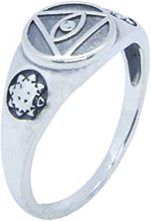 MrBigDeal Sterling Silver Illuminati All Seeing Eye 925 Asatru Viking Aegishjalmur Viking Jewelry Men Women Ring Sz 6-10