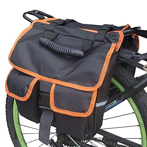 Bolsa de asiento trasero de bicicleta de montaña Bolsa de asiento trasero Bolsa para colgar en el asiento trasero Bolsa de sillín se puede dividir en bolsos y bolsas de mensajero (Negro+Naranja)
