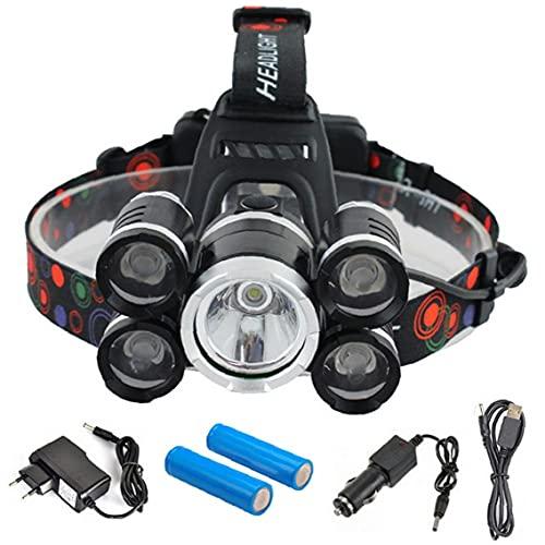 xiaocheng Faro Que acampa Recargable Flashilght montado en la Cabeza de la antorcha atenuadores de LED lámpara de la Linterna para Acampar Running Senderismo Pesca Negro