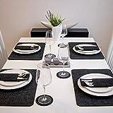 BALFER Tischset abwaschbar aus Filz 18er Set in Anthrazit - 6 Tischuntersetzer Platzset (44x32 cm) + 6 Glas Untersetzer + 6 Bestecksäcken - Hergestellt aus Filz - Platzdeckchen abwischbar - 6