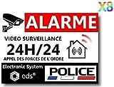 Lot de 8 Autocollants Dissuasifs « Alarme Vidéo Surveillance » Anti cambriolage...