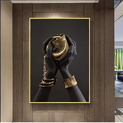 Danjiao Schwarze Frau Hand Mit Goldschmuck Leinwand Gemälde Auf Der Wand Kunst Poster Und Drucke Afrikanische Kunst Bilder Home Wall Decor Wohnzimmer 60x90cm