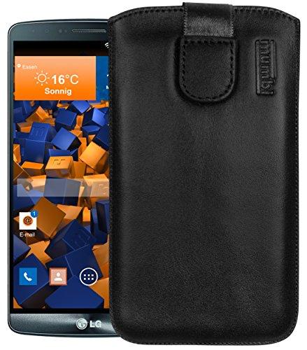 mumbi Echt Ledertasche kompatibel mit LG G3 Hülle Leder Tasche Case Wallet, schwarz
