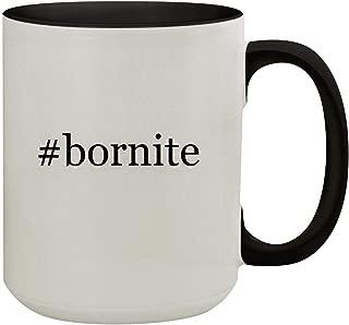 #bornite - 15oz Hashtag Colored Inner & Handle Ceramic Coffee Mug, Black