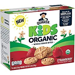 Quaker Kids Organic Whole Grain Bites, Strawberry, 1.05oz Pouches, 5 Count