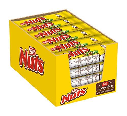 Nestlé NUTS, Haselnuss Schokoriegel mit Karamellfüllung, ganze Haselnüsse und leckere Candy Creme, ummantelt mit Milchschokolade, 24er Pack (24 x 42g)
