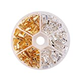 PandaHall 180pcs 2 Colori 10x4mm Brass Snap Bails Pizzico Catenacci Finish Hook Claw Bail Pendant Pizzico Clip Charms Catena Connettore per DIY Collane Monili Che Fanno